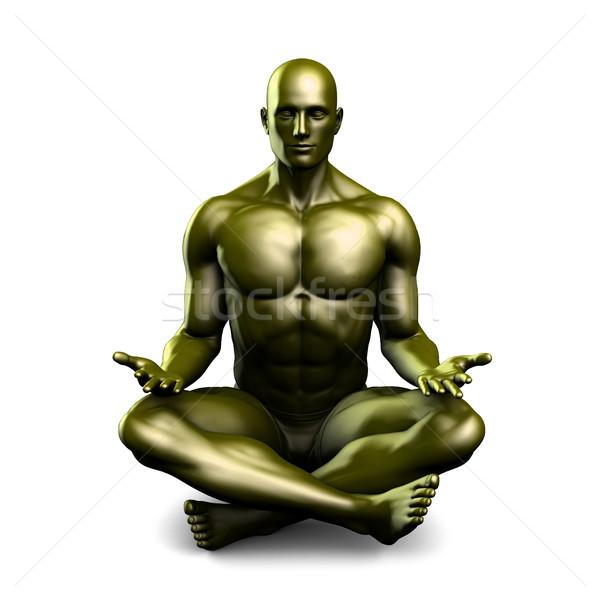 Férfi jóga lótusz pozició póz egészség Stock fotó © kentoh