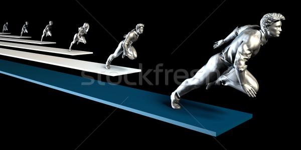 Zakenlieden racing lopen race business vrouwen Stockfoto © kentoh