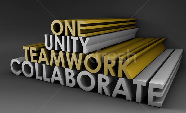 Takım çalışması birlik işbirliği 3d metin aile kurumsal Stok fotoğraf © kentoh