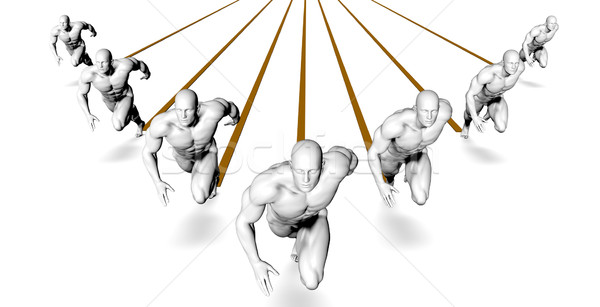 Lopen marathon race sport kruis fitness Stockfoto © kentoh