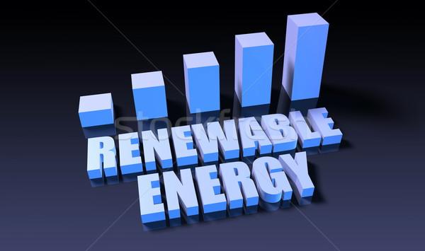 Energii ze źródeł odnawialnych wykres wykres 3D niebieski czarny Zdjęcia stock © kentoh