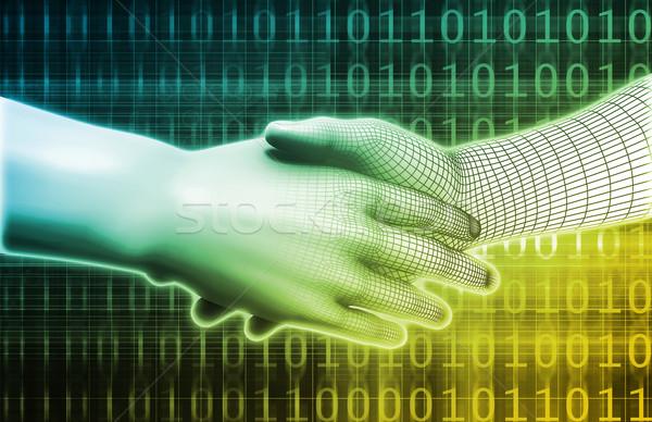 Stockfoto: Man · machine · integratie · ontwerp · analytics · abstract