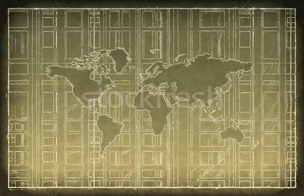 Világutazás tábla rajz üzlet város világ Stock fotó © kentoh