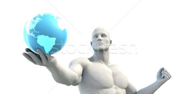 üzletember dolgozik globális technológia üzlet földgömb Stock fotó © kentoh