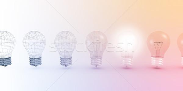 創造的思考 電球 光 背景 教育 ストックフォト © kentoh