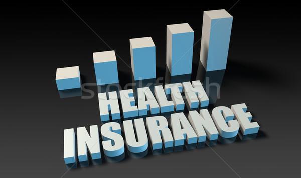 Egészségbiztosítás grafikon diagram 3D kék fekete Stock fotó © kentoh