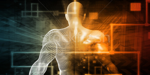 Futurisztikus tudomány digitális művészet férfi test Stock fotó © kentoh