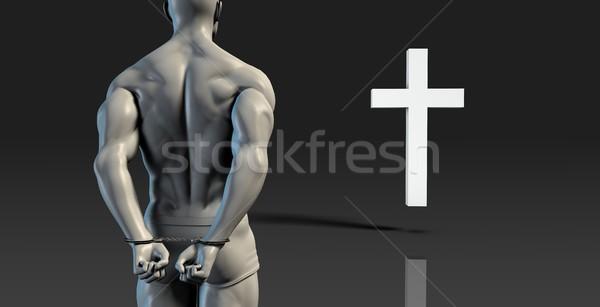 Inmate Converting to Christian Faith Stock photo © kentoh