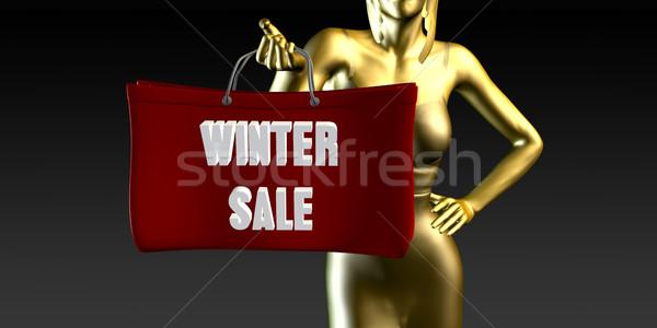 Inverno vendita vendite evento speciale nero sorridere Foto d'archivio © kentoh