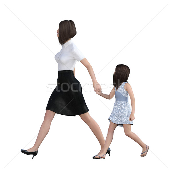 Mother Daughter Interaction of Girl Holding Mom Hand Stock photo © kentoh