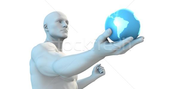 Tecnologia automação andróide robô globo Foto stock © kentoh