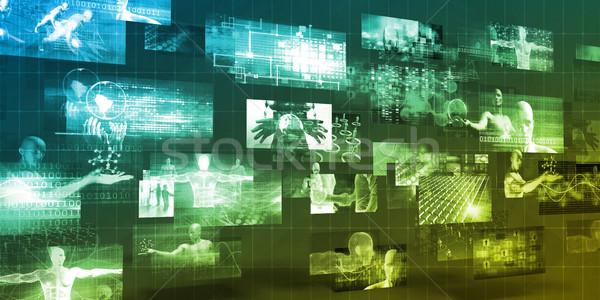 Multimedia Technologie Internet Teilung Business Büro Stock foto © kentoh
