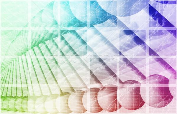 Tudomány mérnöki absztrakt atomi spirál művészet Stock fotó © kentoh