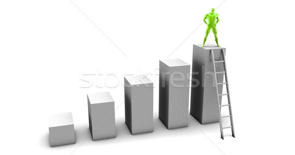 Człowiek wspinaczki w górę drabiny górę biznesmen Zdjęcia stock © kentoh