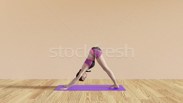 Yoga klasse hond pose illustratie Stockfoto © kentoh