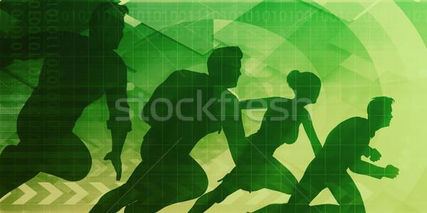 Foto stock: Mercado · líder · companhia · equipe · fundo