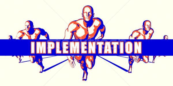 Implementação competição ilustração arte fundo laranja Foto stock © kentoh