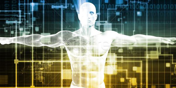 Férfi gép integráció terv analitika technológia Stock fotó © kentoh