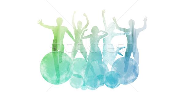 Egészséges életmód vízfesték festmény fitnessz festék csobbanás Stock fotó © kentoh