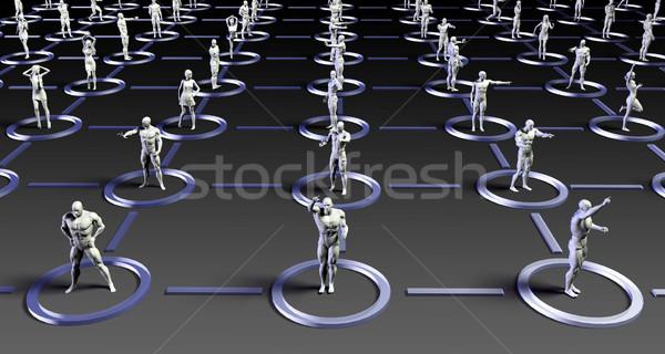 Sociale netwerken mensen business computer gezicht Stockfoto © kentoh