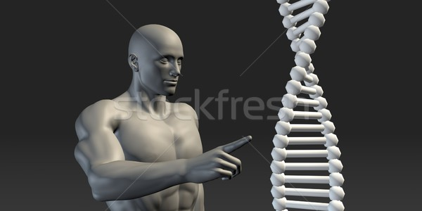 Scientist Pointing at DNA Helix Structure Stock photo © kentoh