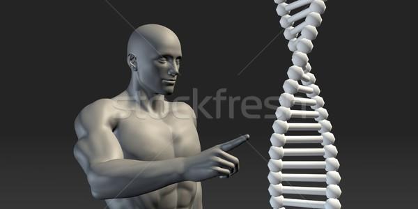 ученого указывая ДНК спираль структуры медицинской Сток-фото © kentoh