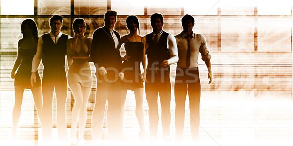 Business team permanente leider vrouw zakenman Stockfoto © kentoh