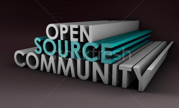 Open bron gemeenschap 3D kunst business Stockfoto © kentoh