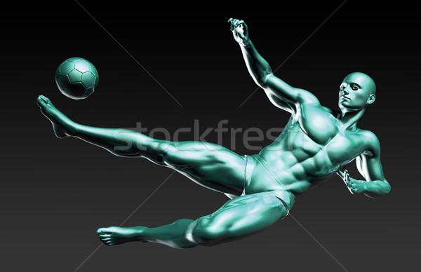 Soccer Playing Kicking a Football Stock photo © kentoh