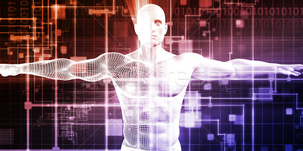 Homem máquina integração projeto analítica tecnologia Foto stock © kentoh