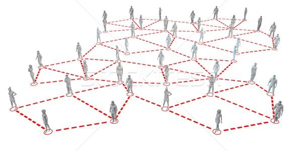 Nagyobb csoport emberek hálózat vonalak üzlet Stock fotó © kentoh