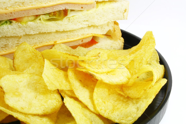 Szendvics sültkrumpli étel kombináció fehér kenyér Stock fotó © kentoh