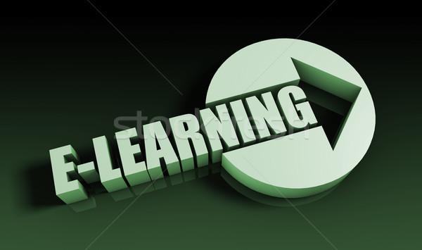 Online oktatás nyíl üzlet kulcs tanul diagram Stock fotó © kentoh