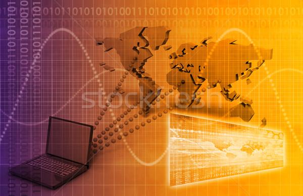 Ordinateur technologie mondial atteindre art résumé Photo stock © kentoh