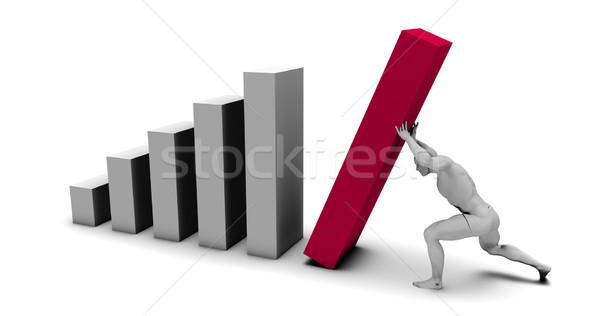 Człowiek popychanie w górę wykres słupkowy finał kawałek Zdjęcia stock © kentoh
