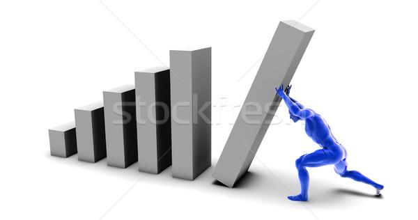 Férfi toló felfelé oszlopdiagram végső darab Stock fotó © kentoh