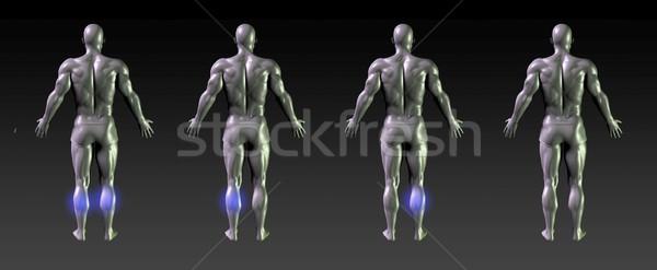 Gyógyulás rehabilitáció kék izzik egészség sportok Stock fotó © kentoh