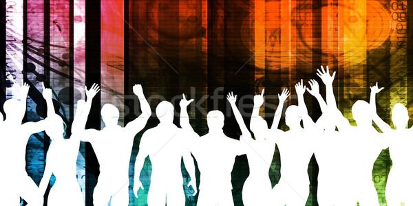 Stockfoto: Opgewonden · menigte · silhouet · partij · abstract · leuk