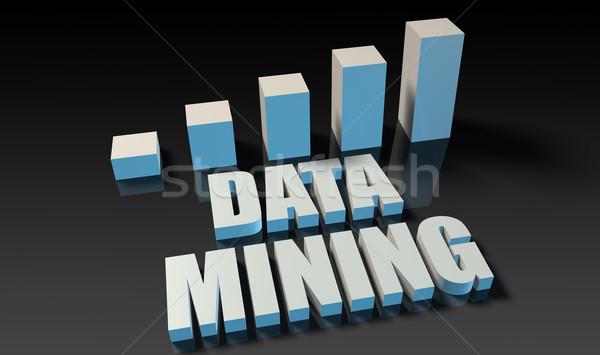 Adat bányászat grafikon diagram 3D kék Stock fotó © kentoh