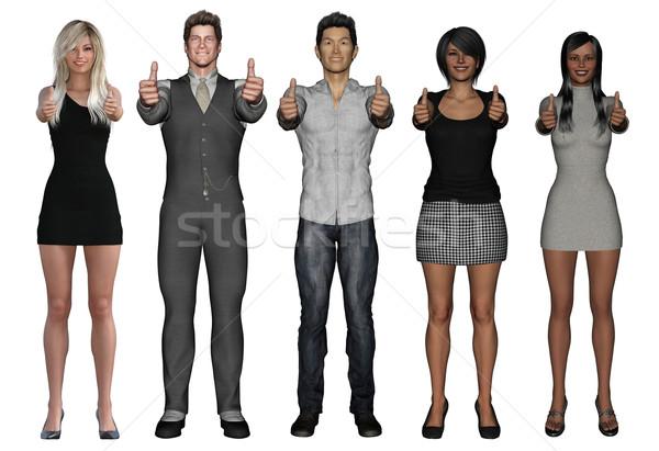 Stock fotó: Sikeres · üzletemberek · remek · mosolyog · izolált · iroda