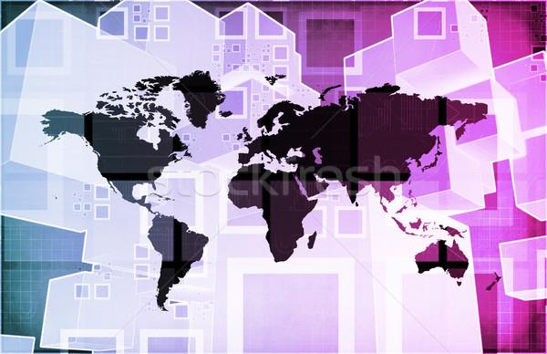 Wereldwijde business logistiek software ondersteuning kunst web Stockfoto © kentoh