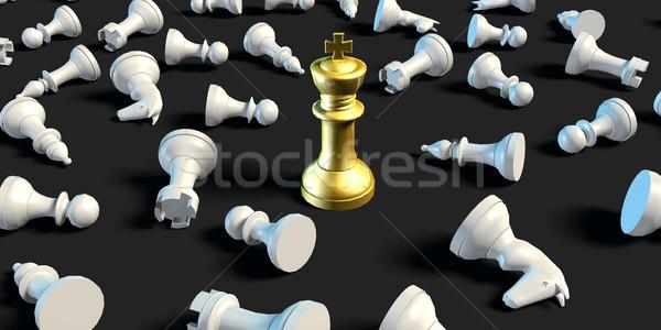 Laatste man permanente business schaken strategie Stockfoto © kentoh