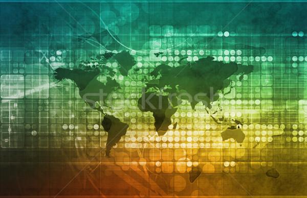 Global de negócios estratégia desenvolvimento computador mapa mundo Foto stock © kentoh
