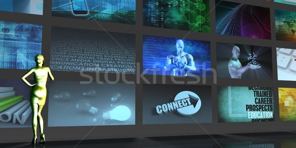 Média telekommunikáció videofal művészet számítógép internet Stock fotó © kentoh