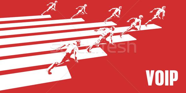 Voip gens d'affaires courir chemin affaires femmes Photo stock © kentoh