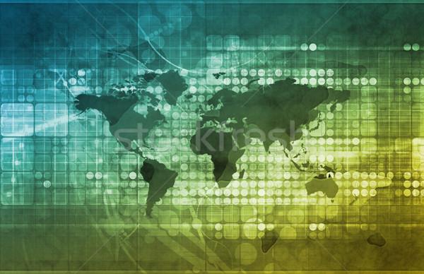 Globális üzlet stratégia fejlesztés számítógép térkép világ Stock fotó © kentoh