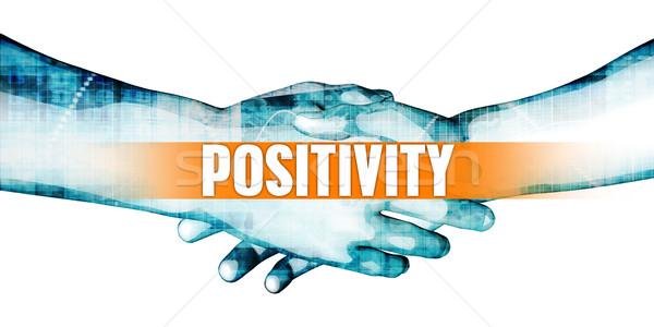 Positividad empresarios apretón de manos blanco manos fondo Foto stock © kentoh