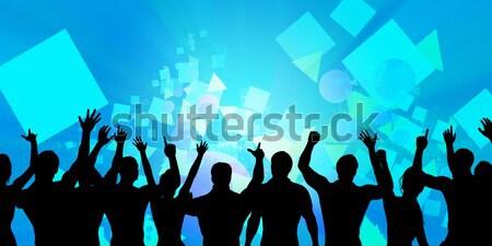 Foto stock: Excitado · multitud · silueta · fiesta · resumen · diversión