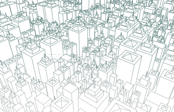 Stock fotó: Drótváz · város · épületek · terv · terv · művészet