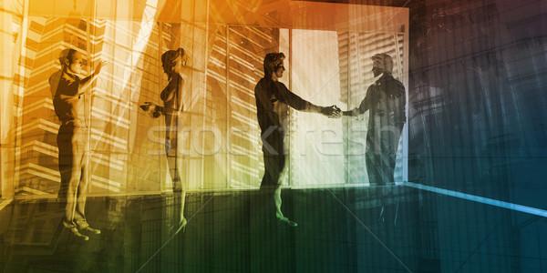 Bancaire industrie centraal zakenwijk handen abstract Stockfoto © kentoh